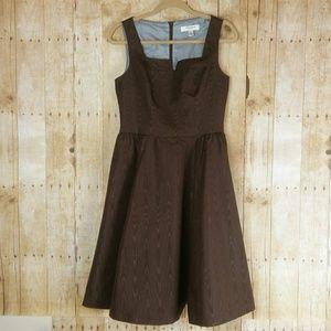 Isaac Mizrahi Brown Sleeveless Flounce Dress Sz. 8